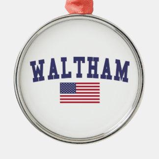 Waltham US Flag Metal Ornament