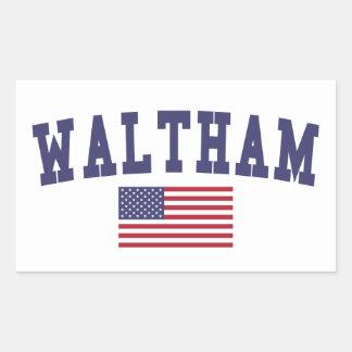 Waltham US Flag Rectangular Sticker
