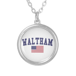 Waltham US Flag Silver Plated Necklace