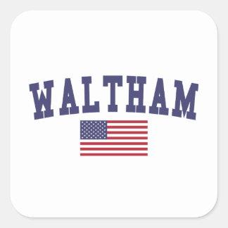Waltham US Flag Square Sticker