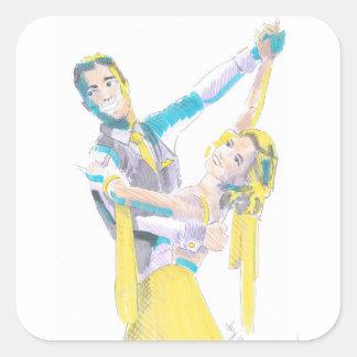 Waltz Ballroom Dancers Drawing Square Sticker