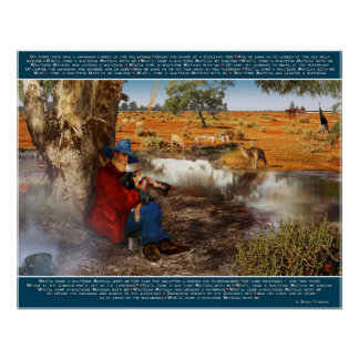 Waltzing Matilda Banjo Paterson Words and starrin Poster