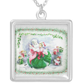 Waltzing Santa & Mrs. Claus Necklace