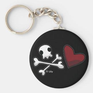 Wam Skull & Heart Keychain