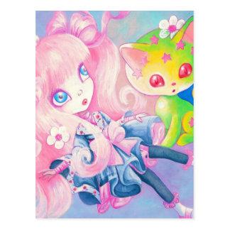 Wamono Japanese Girl With Kawaii Kitten Postcard