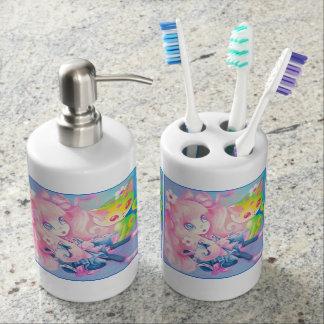 Wamono Japanese Girl With Kawaii Kitten Soap Dispenser & Toothbrush Holder