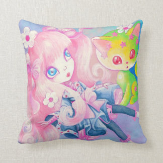 Wamono Japanese Girl With Kawaii Kitten Throw Pillow