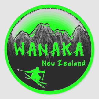 Wanaka New Zealand skier Classic Round Sticker
