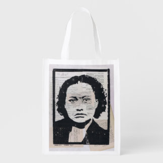 Wanda #2 Printmaking Collage Grocery Bag