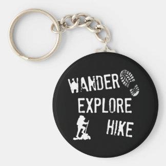 Wander, Explore, Hike Basic Round Button Keychain