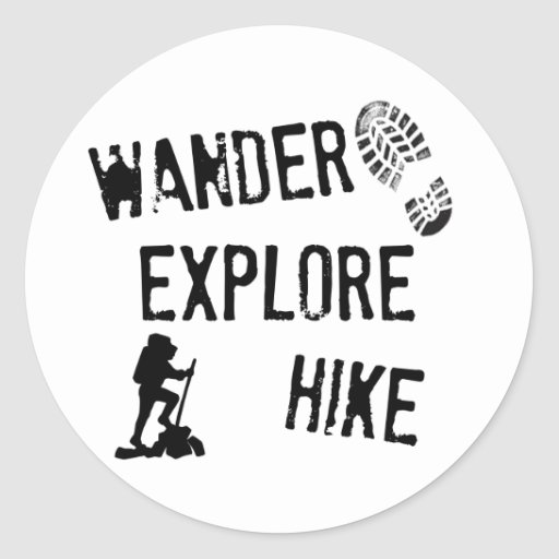 Wander, Explore, Hike Stickers