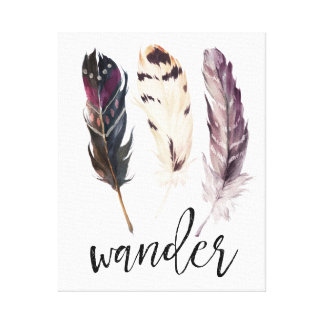 Wander Feather Native Tribal Watercolor Canvas