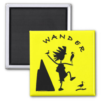 Wander In Black 2 Inch Square Magnet