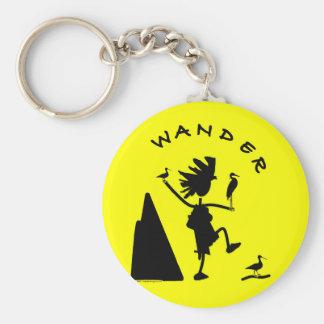 Wander In Black Basic Round Button Keychain