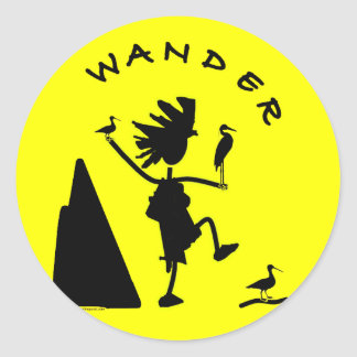 Wander In Black Classic Round Sticker