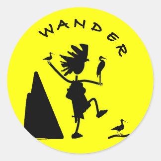 Wander In Black Round Sticker