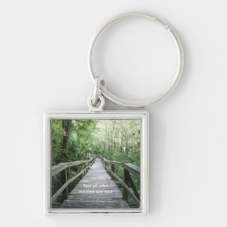 Wander Silver-Colored Square Keychain