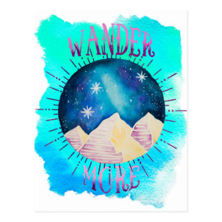 Wander More - Boho Gypsy Wanderlust Watercolor Postcard