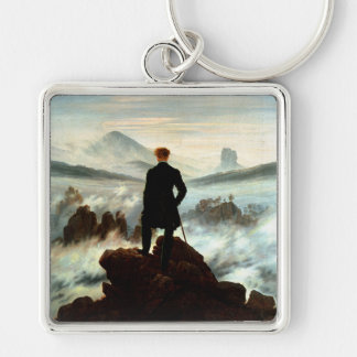 Wanderer Above the Sea of Fog, Caspar Friedrich Silver-Colored Square Keychain