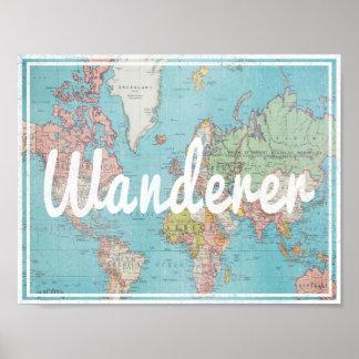 Wanderer typography on vintage world map poster