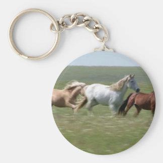 Wandering herd of American MUSTANG Horses Keychain