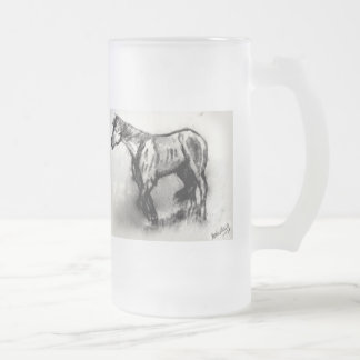 Wandering Horse Frosted Glass Beer Mug