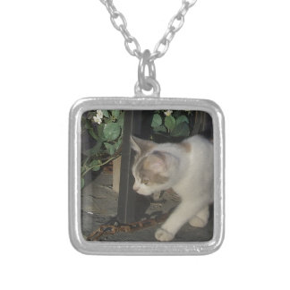Wandering Kitty Silver Plated Necklace
