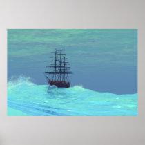 ocean, sailboat, clipper, ship, tall, seascapes, oceans, Cartaz/impressão com design gráfico personalizado