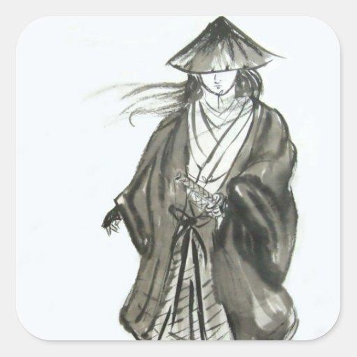 Wandering Samurai Brush Art Stickers