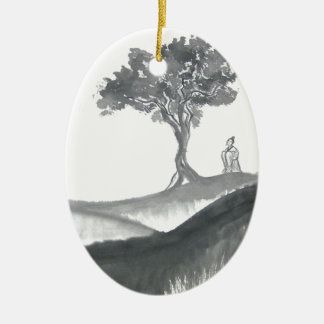 Wandering Taoist Monk Double-Sided Oval Ceramic Christmas Ornament