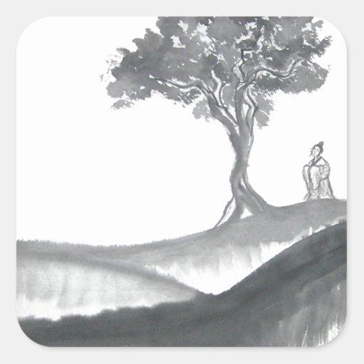 Wandering Taoist Monk Square Stickers