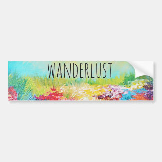 WANDERLUST Abstract Nature Art Typography Painting Car Bumper Sticker