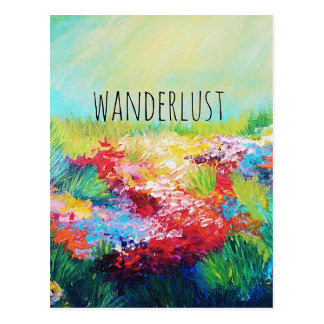 WANDERLUST Abstract Nature Art Typography Painting Postcard