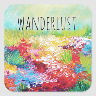 WANDERLUST Abstract Nature Art Typography Painting Square Sticker