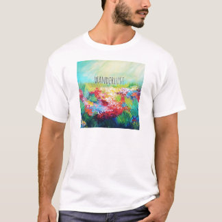 WANDERLUST Abstract Nature Art Typography Painting T-Shirt