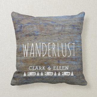 Wanderlust Custom Name   Rustic Wood RV Camper Throw Pillow