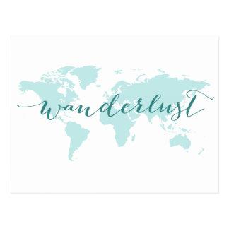Wanderlust, deseo de viajar, mapa del mundo del postal