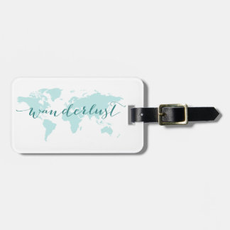 Wanderlust, desire to travel, teal world map bag tags
