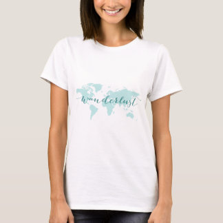 Wanderlust, desire to travel, teal world map T-Shirt