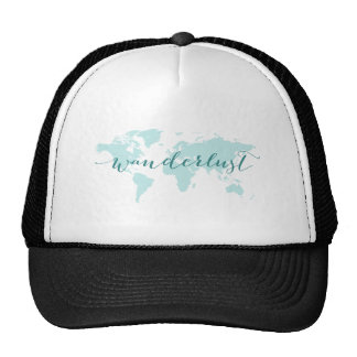 Wanderlust, desire to travel, teal world map trucker hat