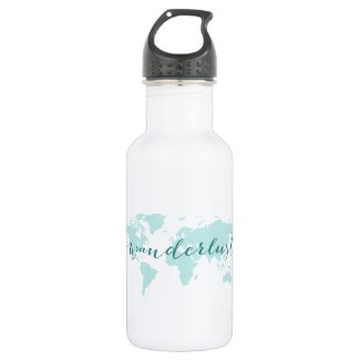 Wanderlust, desire to travel, teal world map water bottle
