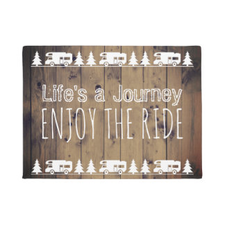 Wanderlust Enjoy the Ride Vintage Camper Trailer Doormat