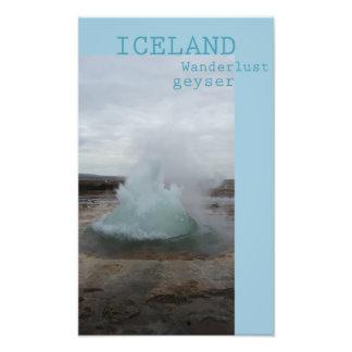 Wanderlust Iceland geyser poster