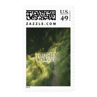 Wanderlust Lettering Green Forest Path Radial Blur Postage