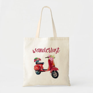 Wanderlust - Red Watercolor Moped With Flowers Tote Bag