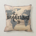 Wanderlust Rustic Wood Travel Throw Pillow at Zazzle