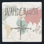 "Wanderlust Stone Coaster<br><div class=""desc"">Wanderlust text in a soft watercolor print. 