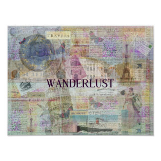 Wanderlust travel art poster