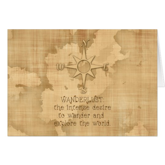 """Postcard Quotes Travel: """"Wanderlust..."""" Traveling Quote On Vintage Paper Card"""