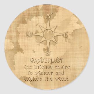 """Wanderlust..."" Traveling Quote on Vintage Paper Classic Round Sticker"